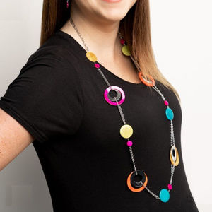 Paparazzi Chunky Bright Colored Rings Necklace